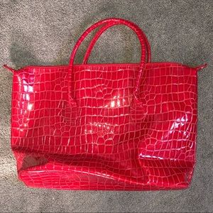 Elizabeth Arden red patent tote bag